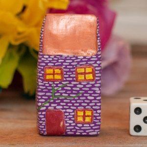 Tiny Cottage House Purple & Copper